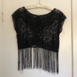 Poof Lace Top with Fringe Bottom